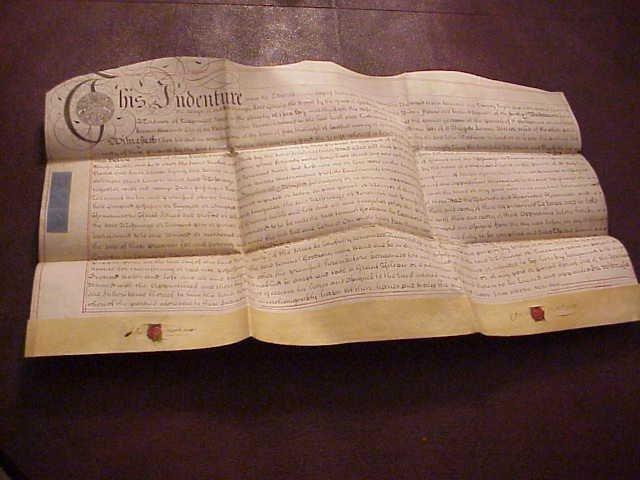 1728 Large Vellum Deed London w/ Red Wax Seals
