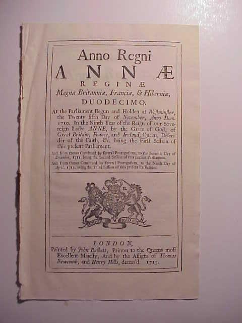 1713 English Act Sail Cloth