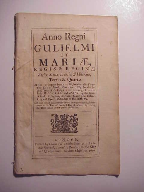 1691 William and Mary Act Against Enemies of State