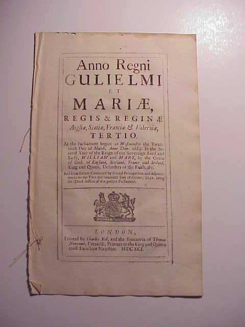 1691 William and Mary Act Naval Prize of Bay Salt