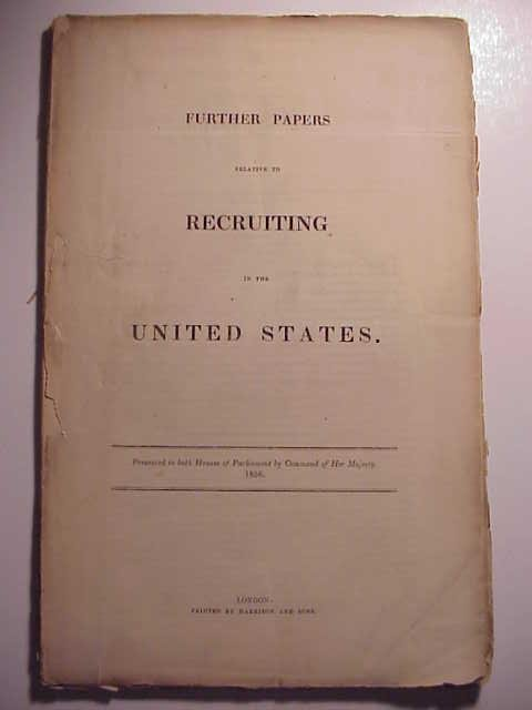 1856 Parliamentary Paper Recruiting in United States