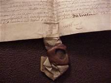 1600 Fine Elizabethan Vellum Deed W/ Seal