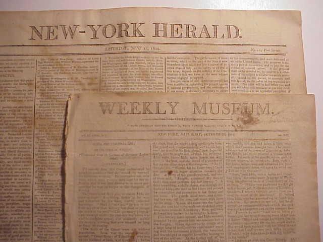 1804 TWO NY Newspapers Americana Patriotism