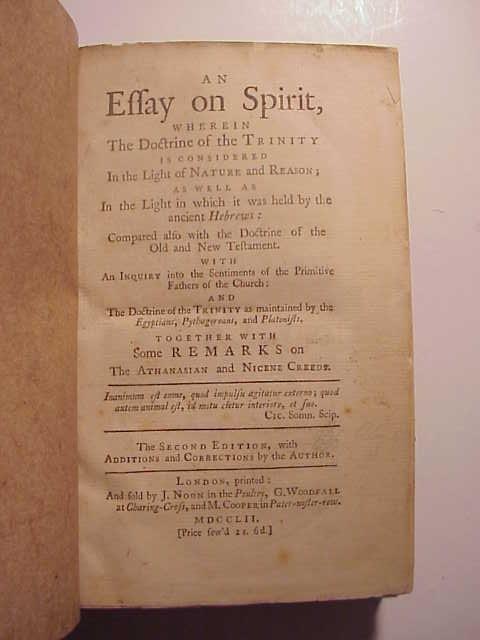1752 An Essay on the Spirit Doctrine on the Trinity