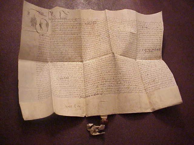 1587 Elizabethan Vellum Deed Aske Family Red Wax Seal