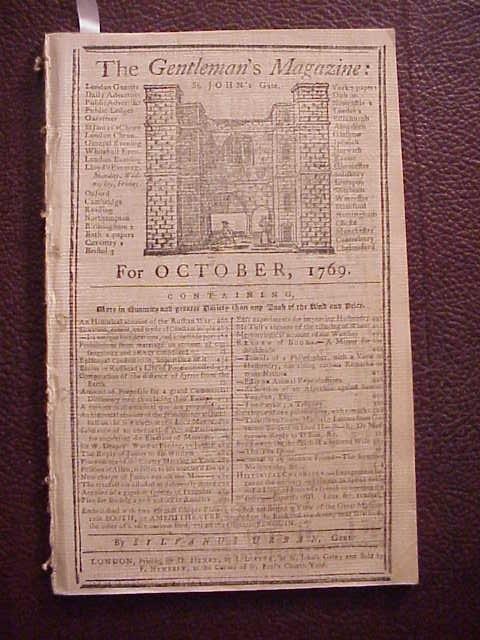 1769 GENTLEMAN'S MAGAZINE Colonial Content