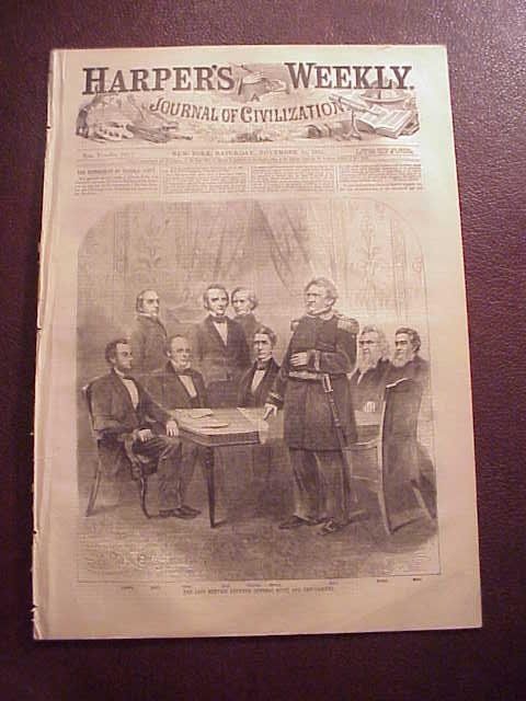 1861 HARPER'S WEEKLY Lincoln Cabinet