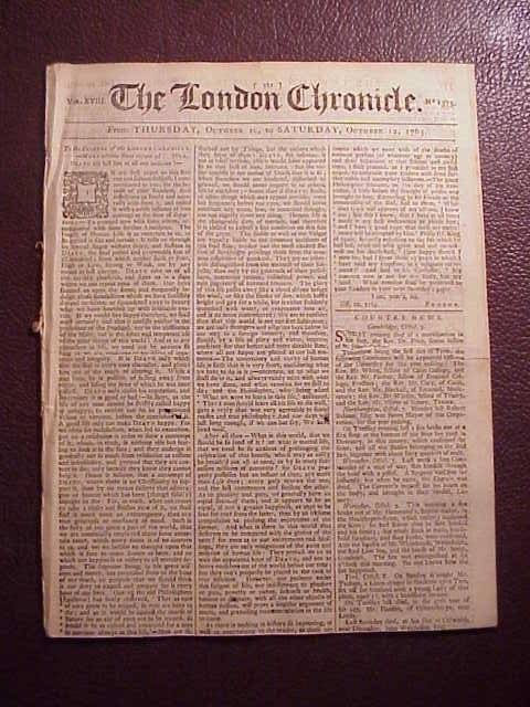1765 LONDON CHRONICLE Stamp Act Reactions