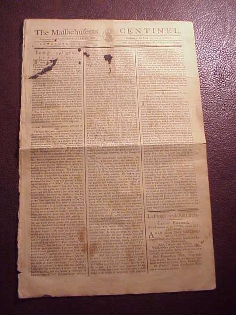 1786 MASSACHUSETTS CENTINEL