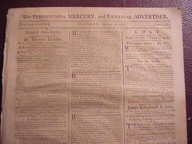 1788 PENNSYLVANIA MERCURY Constitution