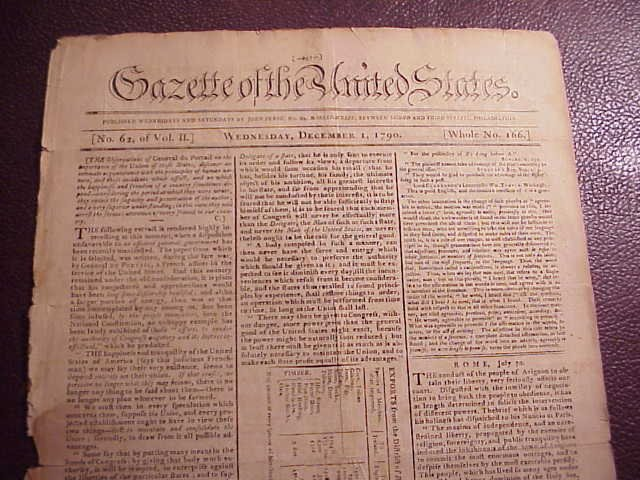 1790 GAZETTE OF THE UNITED STATES