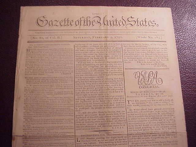 1791 GAZETTE OF THE UNITED STATES Indians