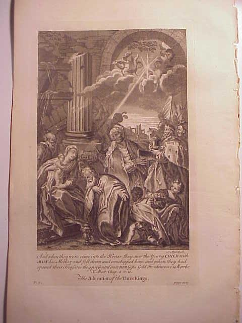 c1760 Engraving Adoration of the Three Kings