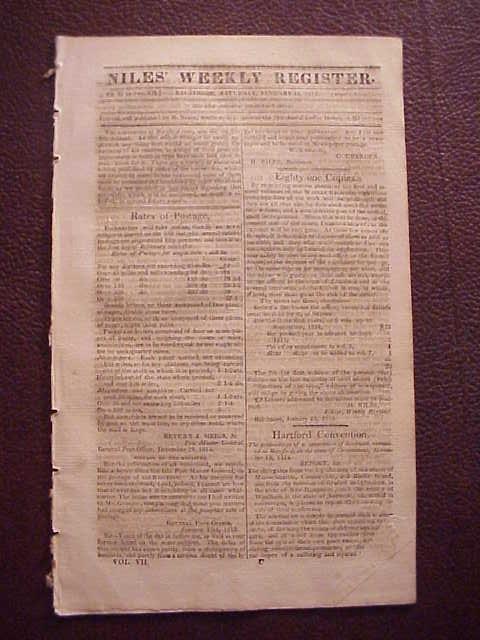 1812 NILES WEEKLY REGISTER War News