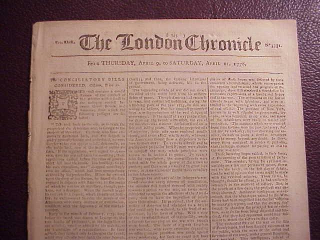 1778 LONDON CHRONICLE Revolutionary War Franklin