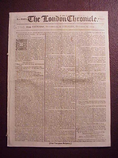 1774 LONDON CHRONICLE Continental Congress