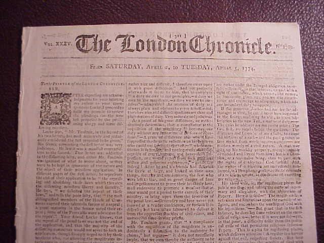 1774 LONDON CHRONICLE American Taxation