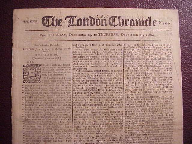 1780 LONDON CHRONICLE Revolutionary War News