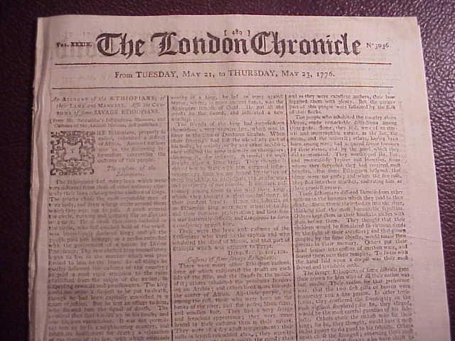 1776 LONDON CHRONICLE Revolutionary War