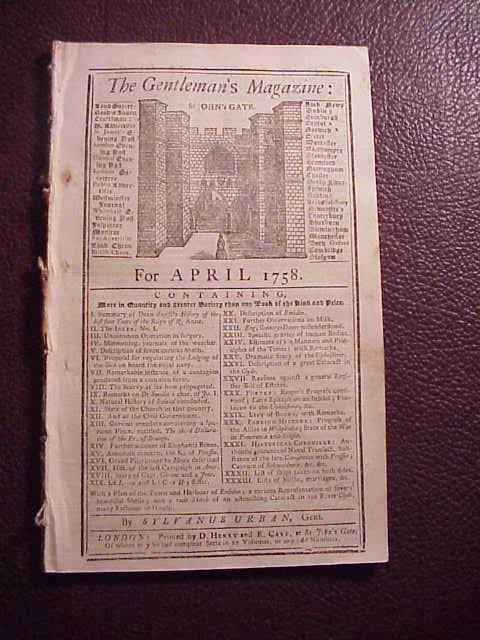 1758 GENTLEMAN'S MAGAZINE French Indian War