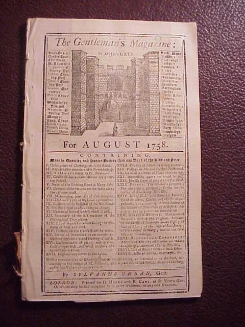 1758 GENTLEMAN'S MAGAZINE Amherst Journal of War