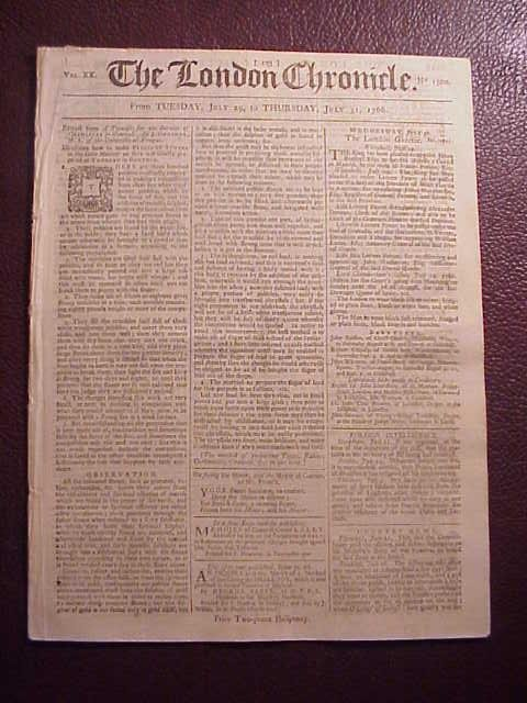 1766  LONDON CHRONICLE Stamp Act Repealed