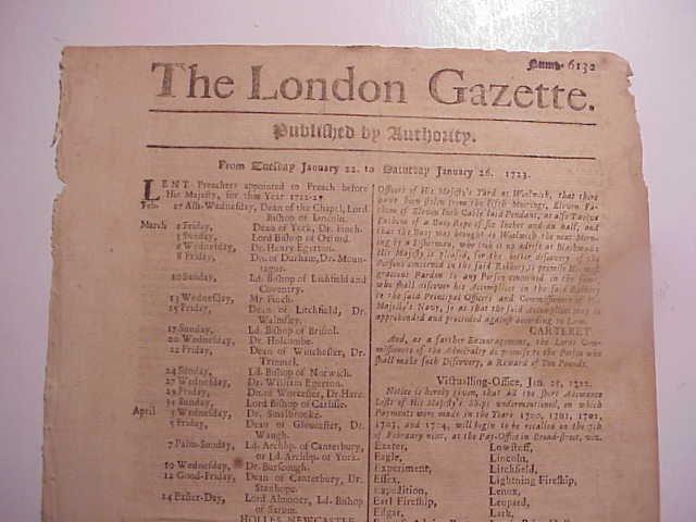 1723 LONDON GAZETTE SOUTH SEAS