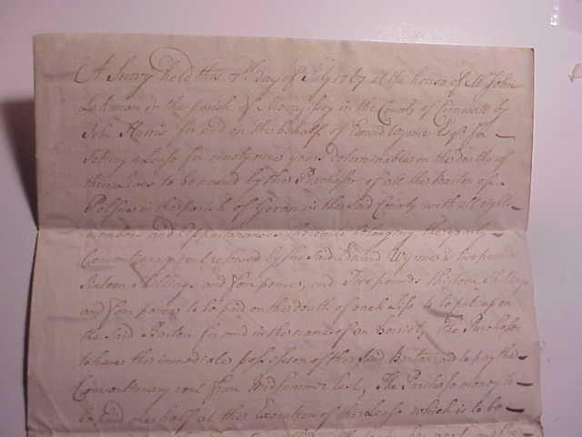 1767 FINE LEGAL  MANUSCRIPT CORNWALL