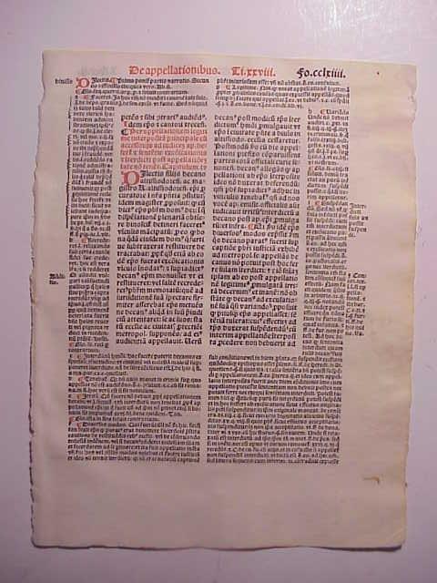 1516 Leaf Decretales of Pope Gregory IX