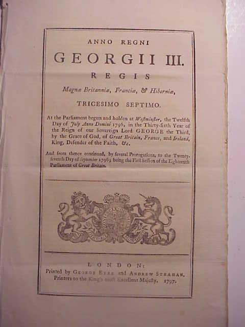 1797 ENGLISH MILITARY ACT
