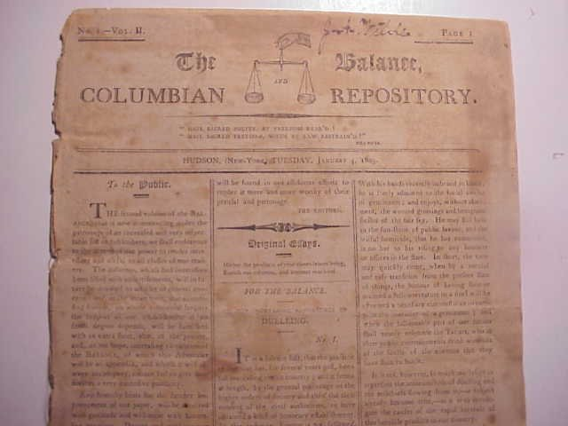 1803 HUDSON NY THE BALANCE NEWS DUELLING