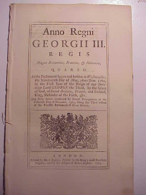 1764 ENGLISH ACT OF PARLIAMENT MILITIA TRAINING