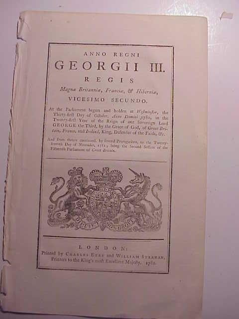 1782 ENGLISH ACT ITALIAN SILK