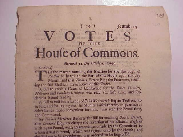 1690 VOTES OF THE HOUSE OF COMMONS