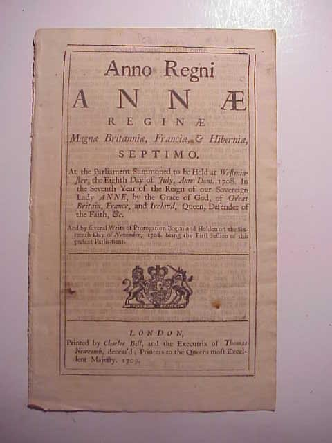 1709 ENGLISH ACT REIGN OF QUEEN ANNE