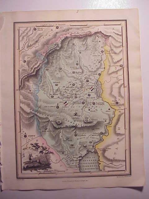 1812 HANDCOLORED HOLY LAND MAP