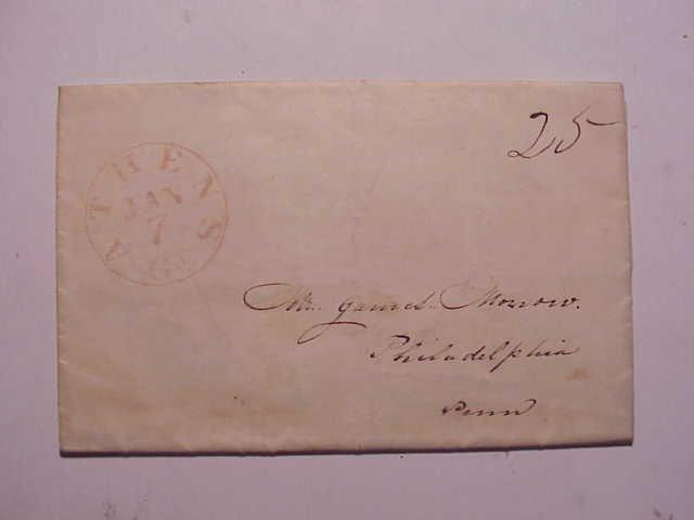 1845 Athens GA Folded Letter Postmark