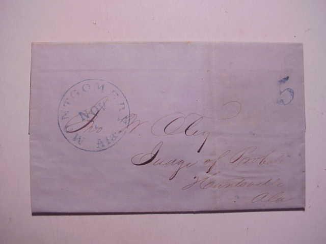 1850 Folded Letter Montgomery AL to Huntsville