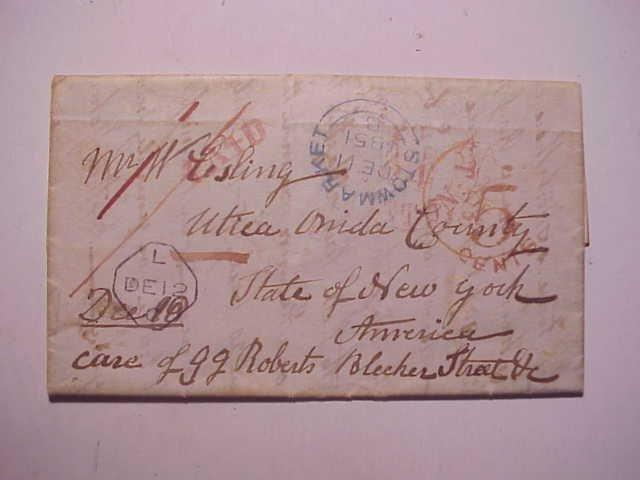 1851 Folded Letter Transatlantic to New York
