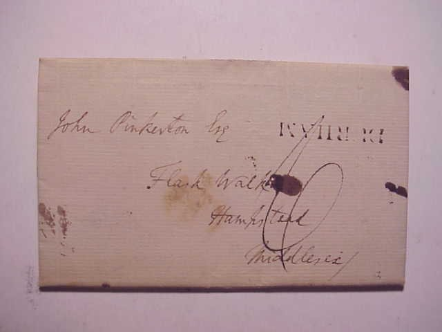 1793 Folded Letter DURHAM cancel