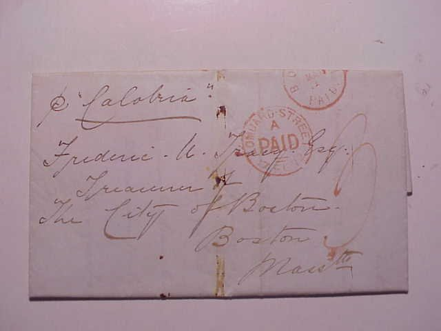 1872 Calabria Ship Letter Transatlantic