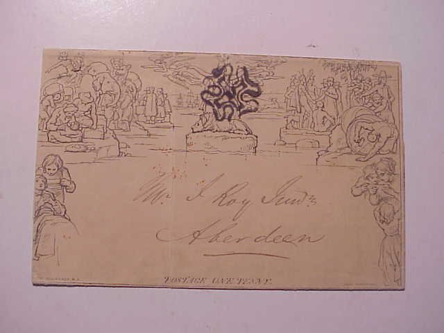1843 Mulready Stampless Cover Beautiful Markings