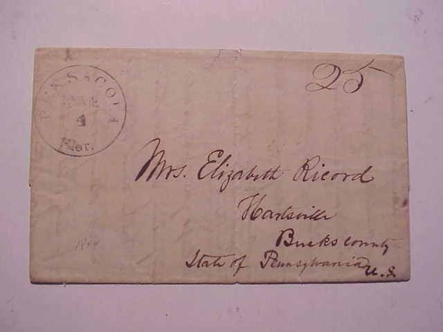 1844 Pensacola Florida Stampless Letter