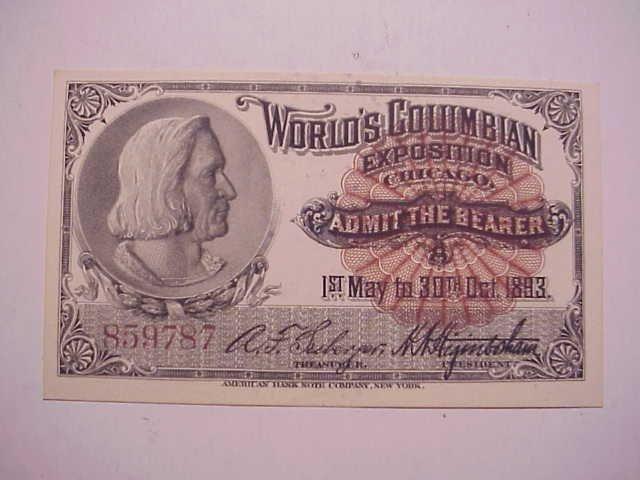 1893 VF Columbian Exposition Ticket