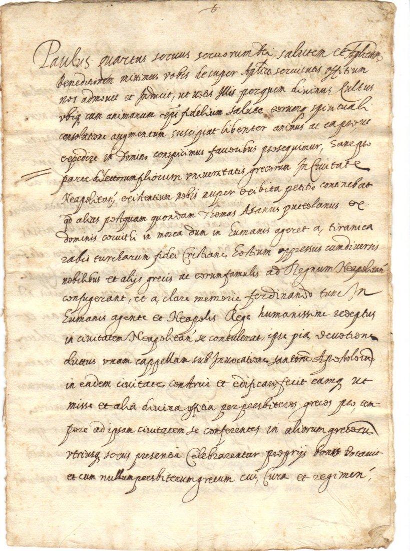 1590 RARE Manuscript Pope Paul III