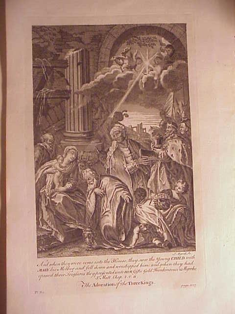 1752 Engraving Adoration of Three Kings