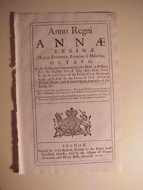 1716 English Act Queen Anne Silk