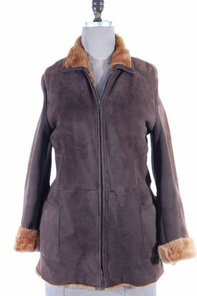 Sporty Italian Soft and Supple Brown Shearling Lamb