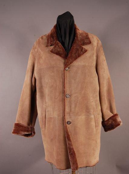 Rugged Men's Milk Chocolate Brown Shearling 3/4 Coat