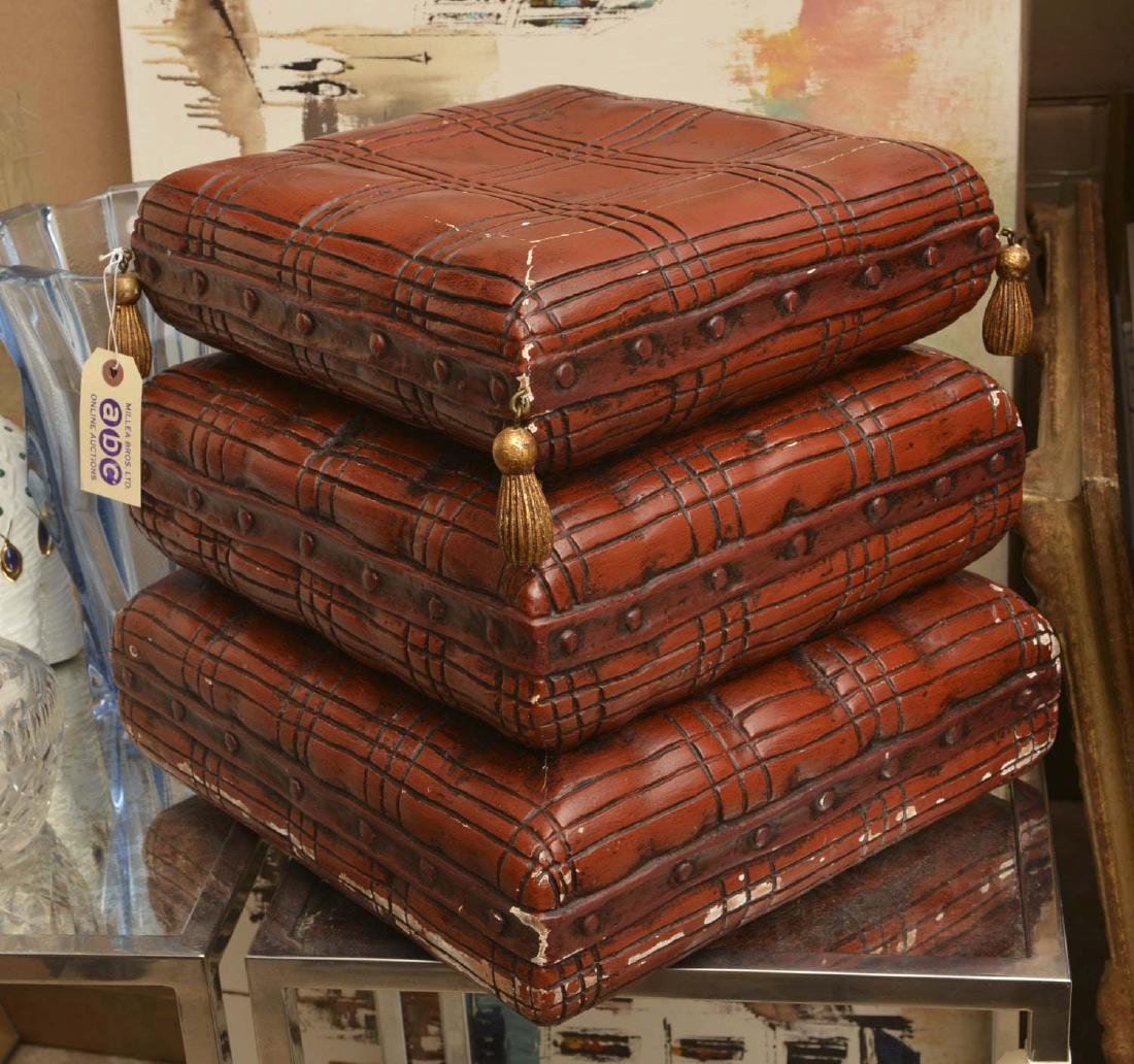 Italian painted wood stacked pillow stool